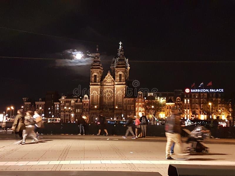 阿姆斯特丹晚上 库存照片