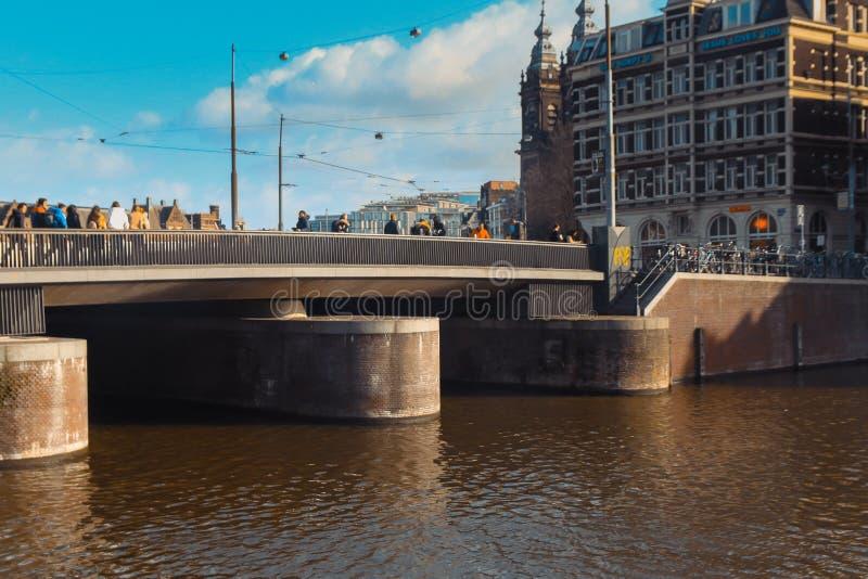 阿姆斯特丹,荷兰桥梁  图库摄影