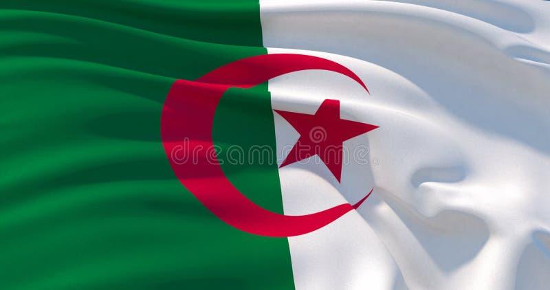 阿尔及利亚旗子爱国背景,3d例证 向量例证