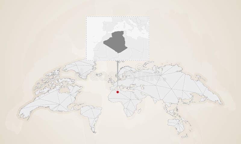 阿尔及利亚的地图有在世界地图别住的附近国家的 库存例证