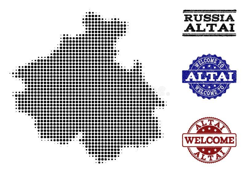 阿尔泰共和国和困厄封印半音地图受欢迎的拼贴画  皇族释放例证