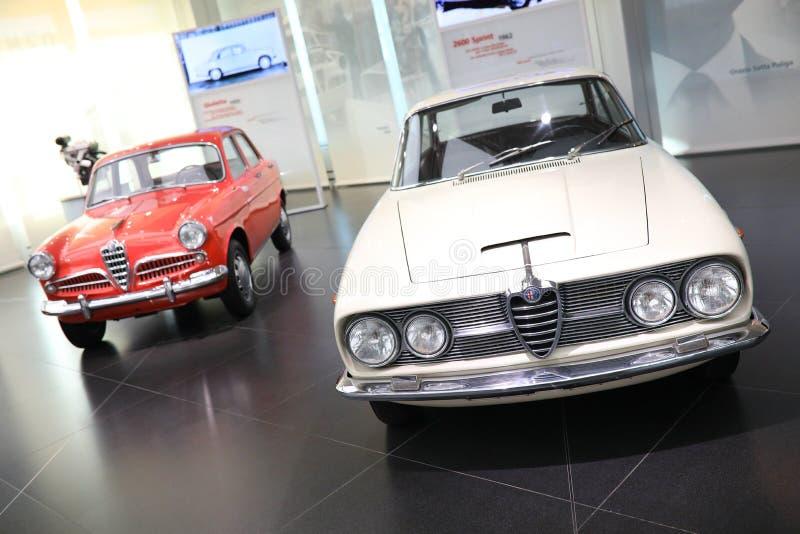 阿尔法・罗密欧Giulietta轿车和2600个Sprint模型在显示在历史博物馆阿尔法・罗密欧 免版税图库摄影