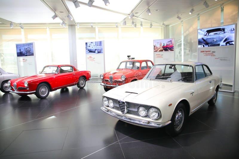 阿尔法・罗密欧Giulietta Sprint,Giulietta轿车和2600个Sprint模型在显示在历史博物馆阿尔法・罗密欧 库存图片