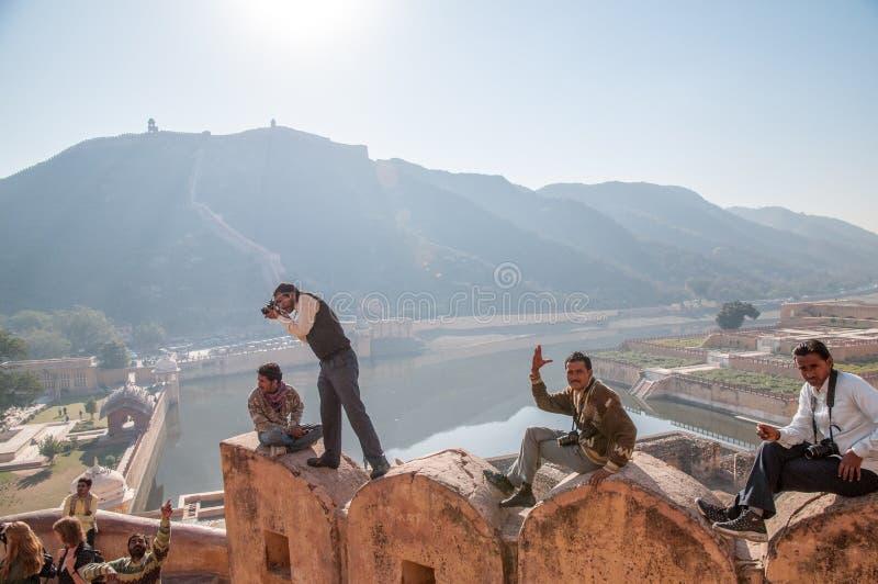 阿梅尔堡垒的摄影师在斋浦尔,印度 免版税库存图片