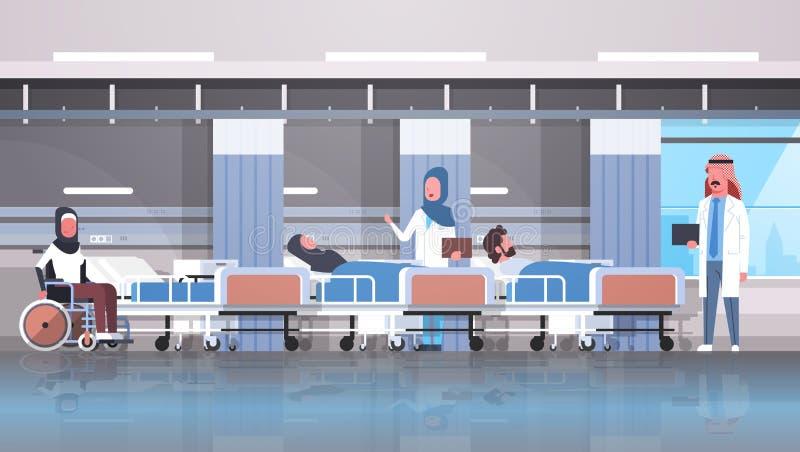 阿拉伯坐轮椅说谎的床密集的疗法病区医疗保健的医生队参观的残疾阿拉伯患者 皇族释放例证
