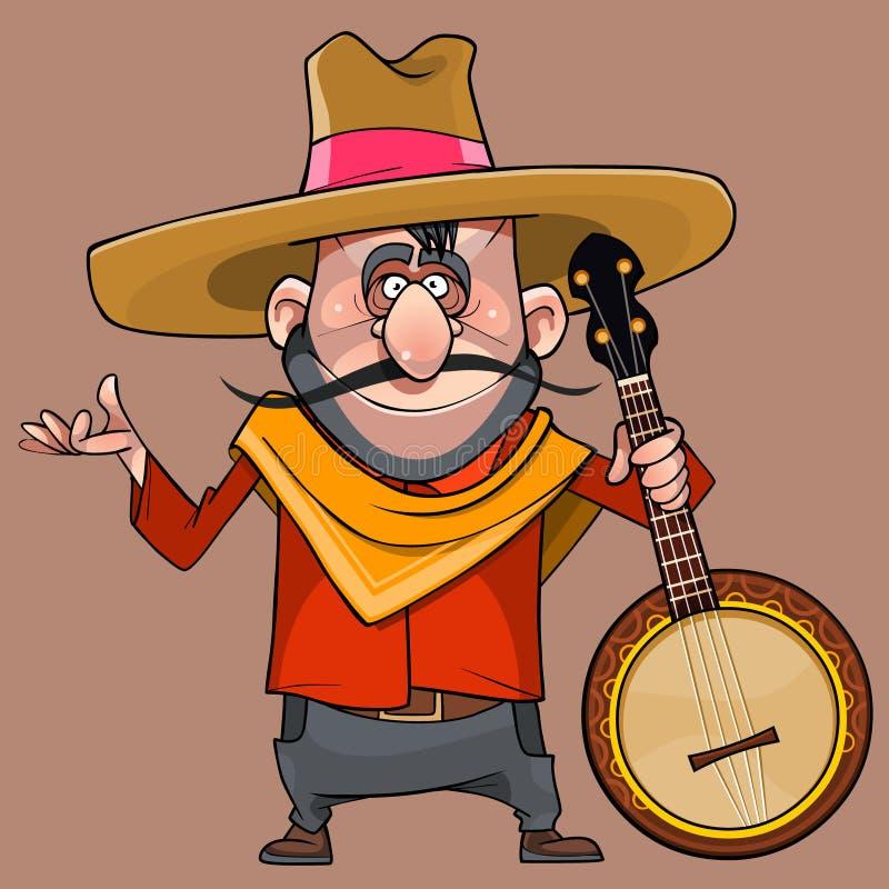 阔边帽的动画片滑稽的男性音乐家有一架班卓琵琶的在他的手上 向量例证