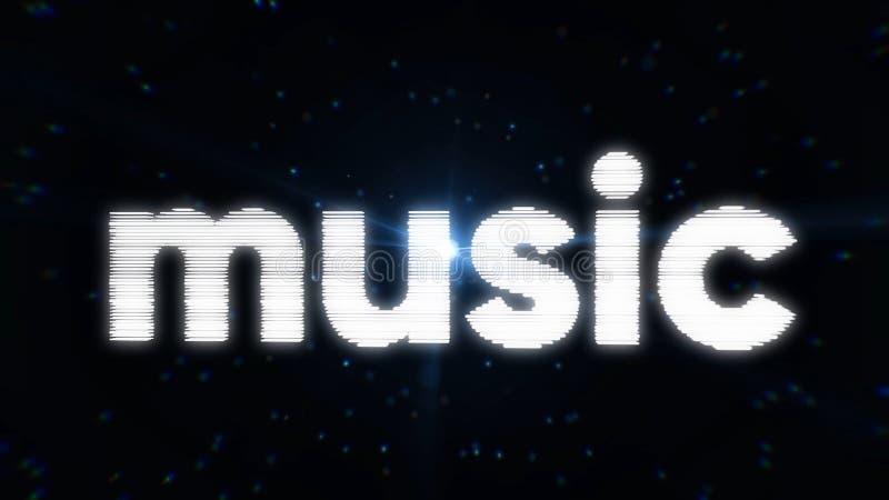 间歇地扭转和转动在黑背景的抽象霓虹词音乐与蓝色微粒和闪光灯 库存例证