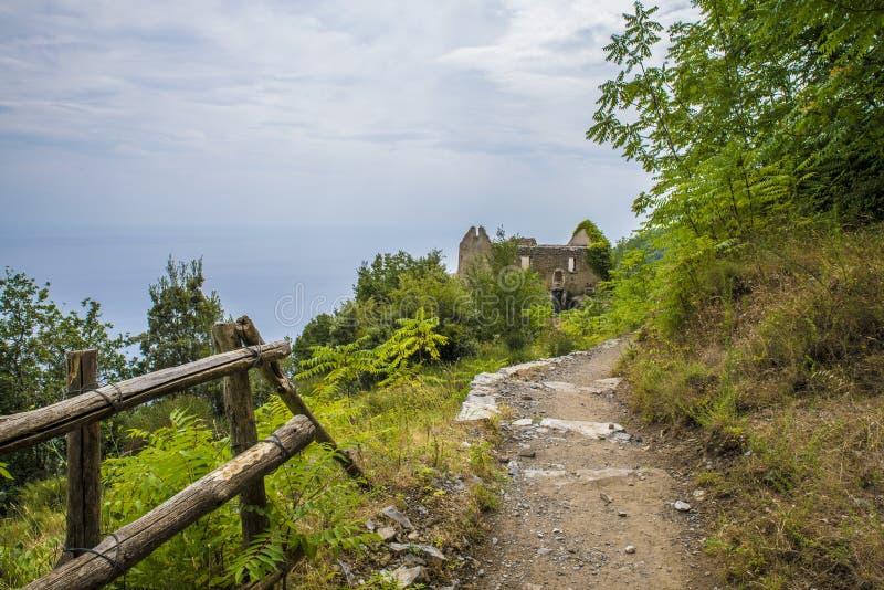 那不勒斯,波西塔诺意大利- 2015年8月12日:在阿马尔菲海岸的供徒步旅行的小道: 免版税库存图片