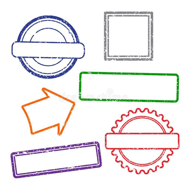 邮票在白色背景的难看的东西框架 六个邮票框架 平的设计 皇族释放例证