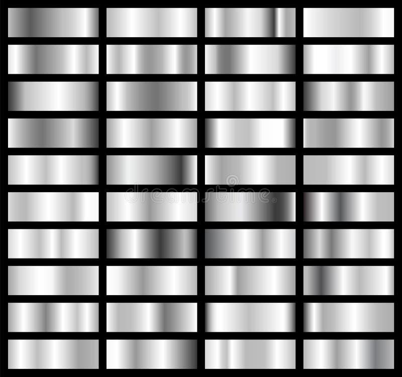 银的汇集,镀铬金属梯度 有银色作用的精采板材 也corel凹道例证向量 向量例证