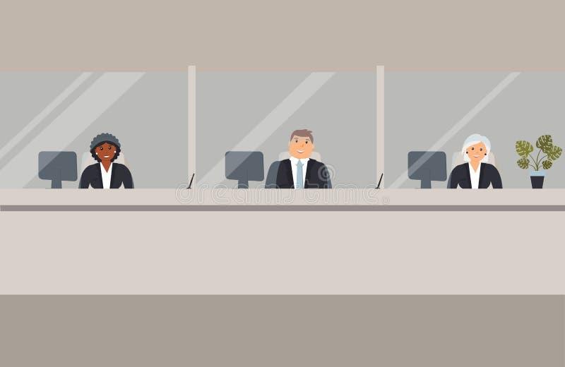 银行办公室内部:银行雇员在与玻璃和准备服务银行顾客的一个障碍后坐 典雅内部财政 库存例证