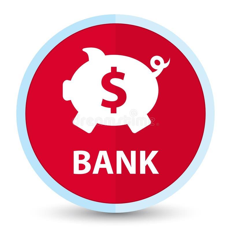 银行(贪心箱子美元的符号)平的头等红色圆的按钮 皇族释放例证