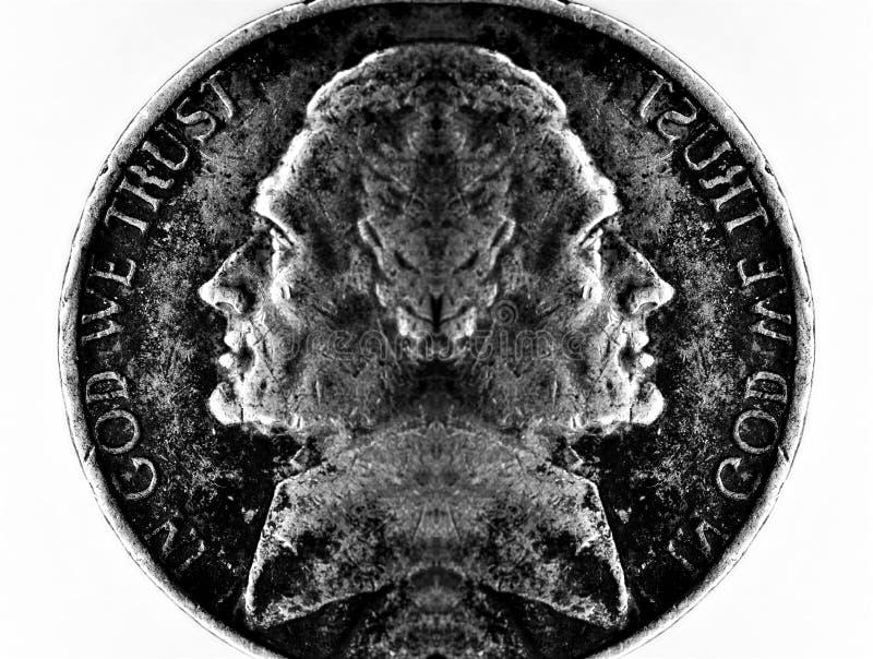 银色美国金钱现金双重朝向的硬币  免版税库存照片