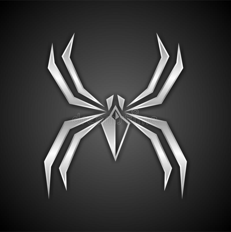 银色蜘蛛商标设计 库存例证