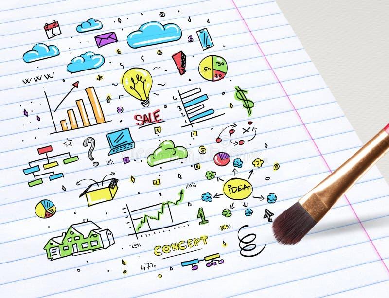 铅笔图多媒体和办公室职员概念 向量例证