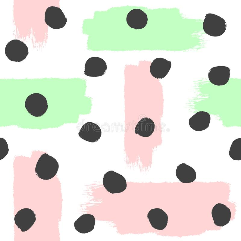 重复的刷子冲程和圆的斑点 抽象水彩无缝的模式 难看的东西,剪影,油漆 白色,桃红色,绿色,黑 皇族释放例证