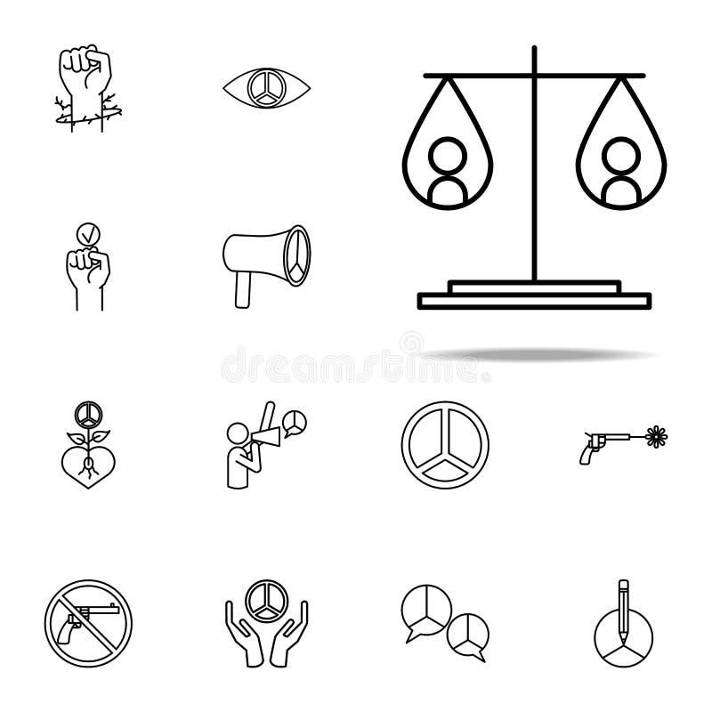 重量象的平等 网和机动性的人权象全集 库存例证