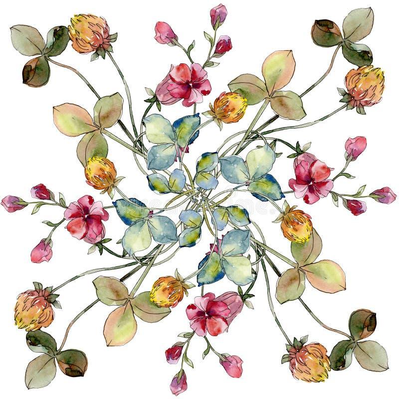 野花打印花卉植物的花 水彩背景例证集合 背景五颜六色的设计模式漩涡 库存照片