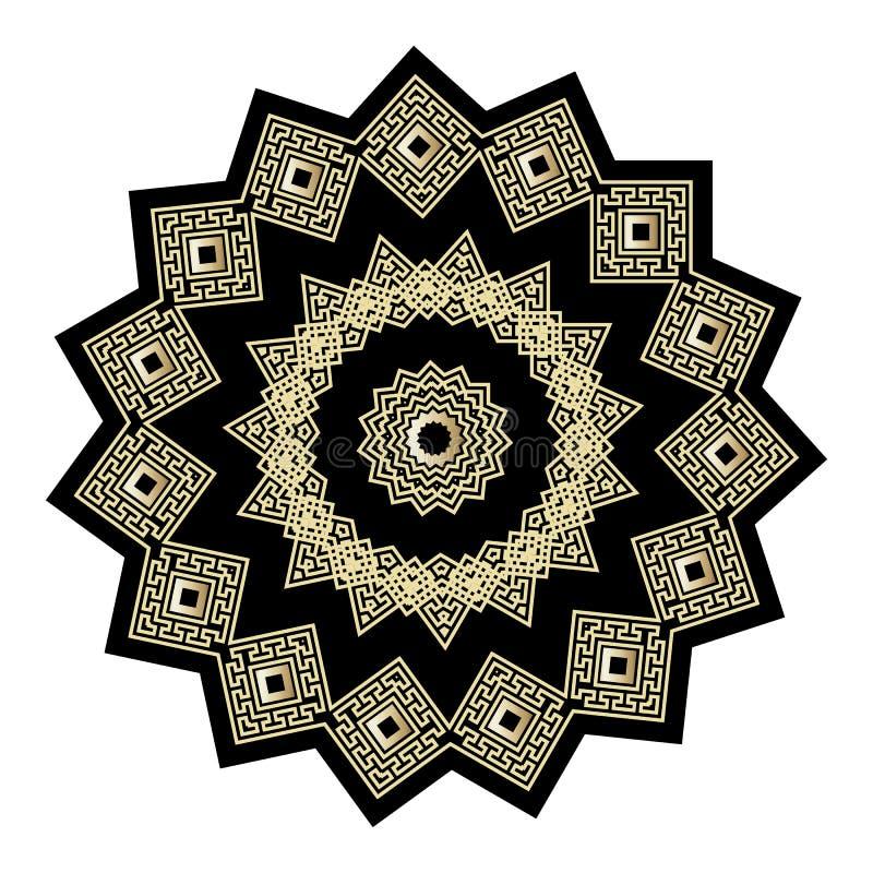 金子和黑华丽希腊传染媒介坛场样式 圆的希腊关键河曲被隔绝的装饰品 奶油被装载的饼干 几何种族 向量例证