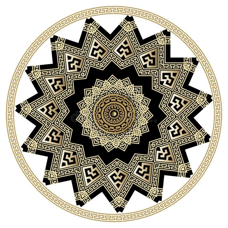 金子和黑华丽希腊传染媒介坛场样式 圆的希腊关键河曲被隔绝的装饰品 奶油被装载的饼干 几何种族 库存例证