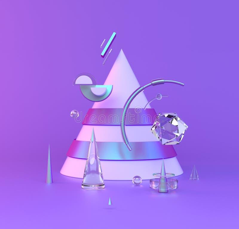 金属抽象3D在紫罗兰色背景反对 背景明亮的例证桔子股票 向量例证
