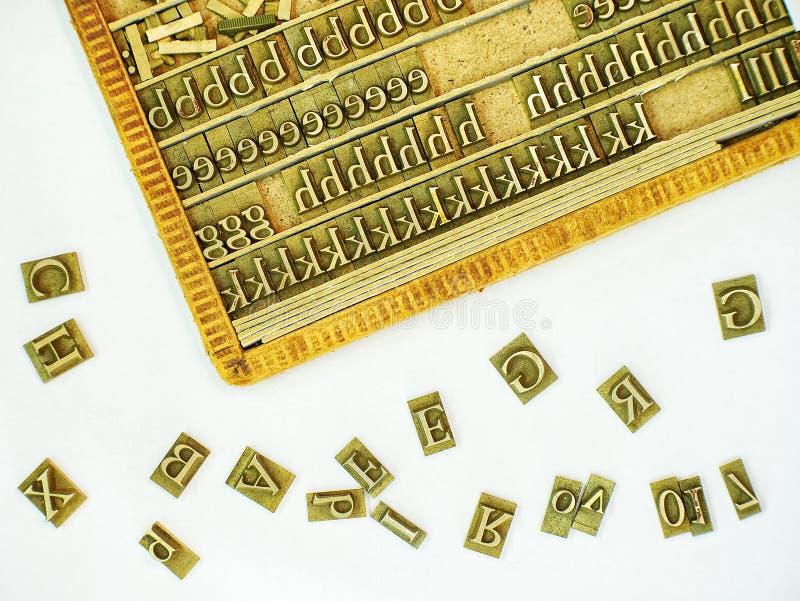 金属新闻打印信件模子成套工具 免版税库存图片