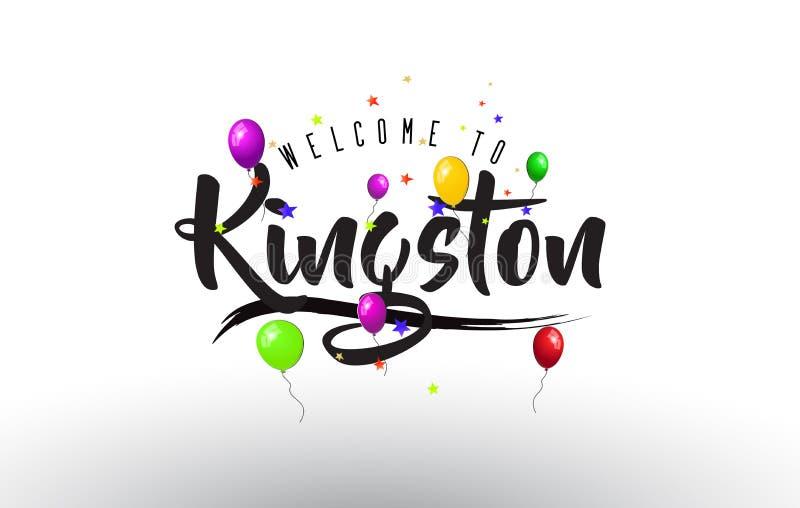 金斯敦欢迎发短信的与五颜六色的气球和星设计 皇族释放例证