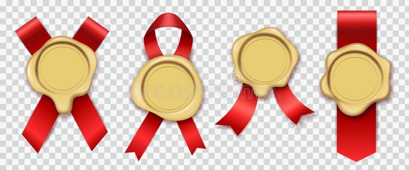 金蜡 与给橡胶葡萄酒文件信封封印皇家邮票集合打蜡的原始的蜡烛的红色丝带 库存例证