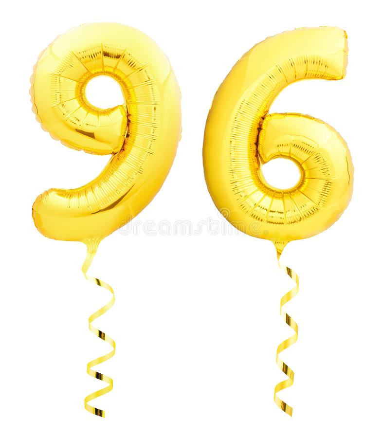 金黄九十六96由有丝带的可膨胀的气球制成在白色 皇族释放例证