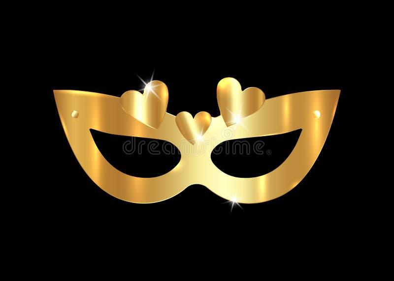 金黄威尼斯式面具现实与金心脏 时髦的化妆舞会党 狂欢节卡片邀请 夜党海报 舞蹈 皇族释放例证