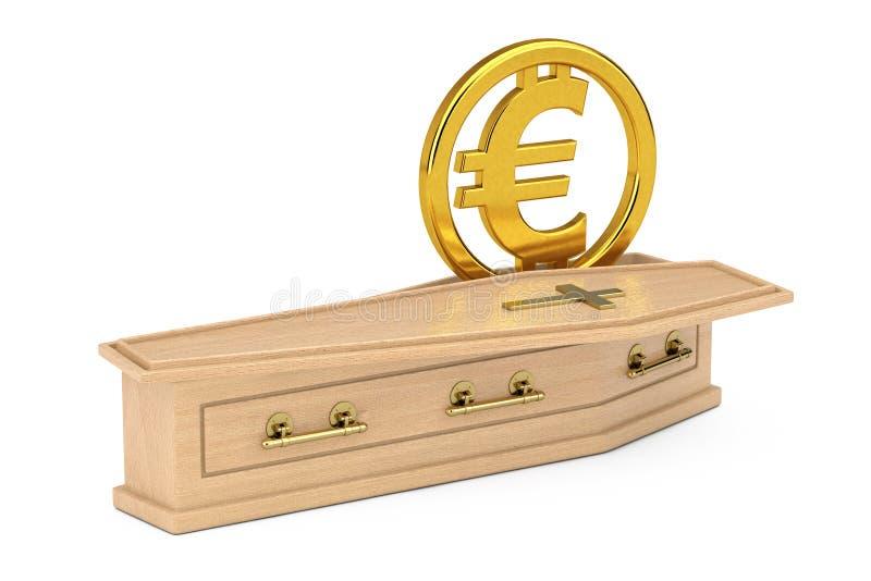 金黄欧元货币符号在有金黄十字架和把柄的木棺材签字 3d翻译 皇族释放例证