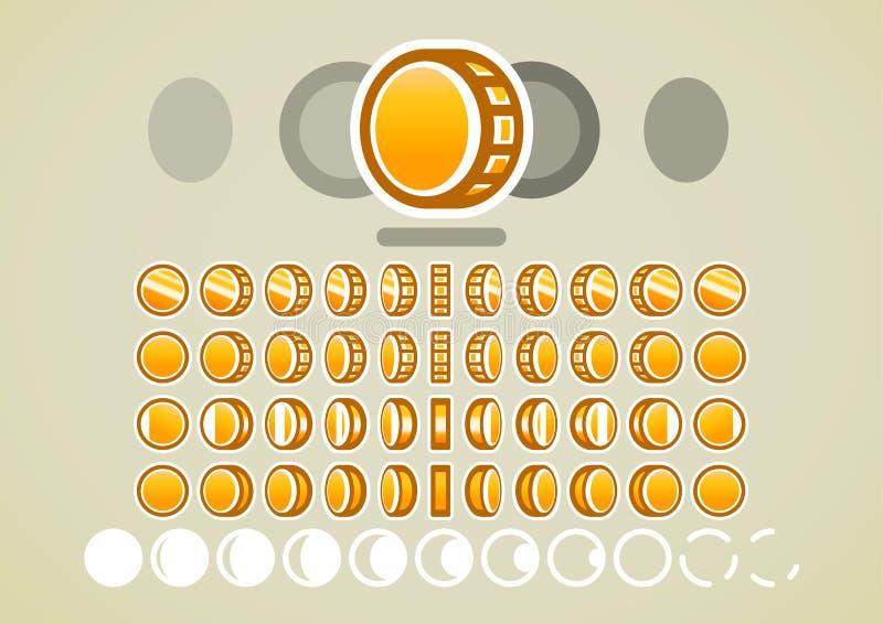 金黄硬币的动画电子游戏的 库存例证