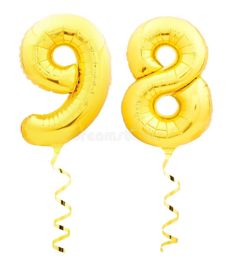 金黄第九十八98由有丝带的可膨胀的气球制成在白色 皇族释放例证