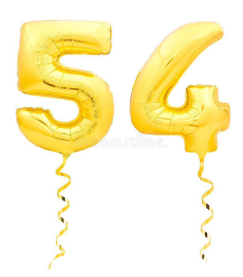 金黄第五十四54由有丝带的可膨胀的气球制成在白色 免版税库存照片
