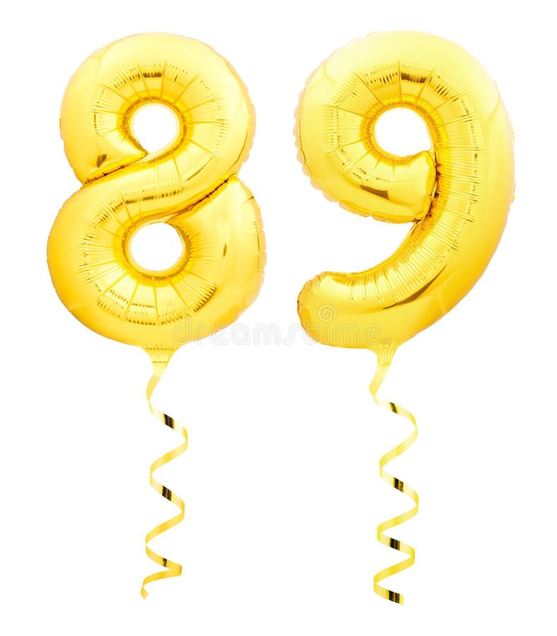 金黄第八十九89由有丝带的可膨胀的气球制成在白色 向量例证