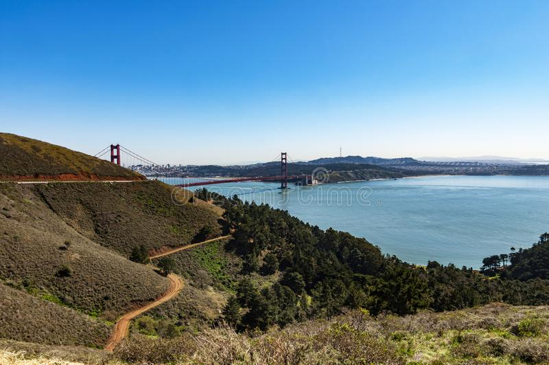 金门海峡桥梁,旧金山,美国 库存照片