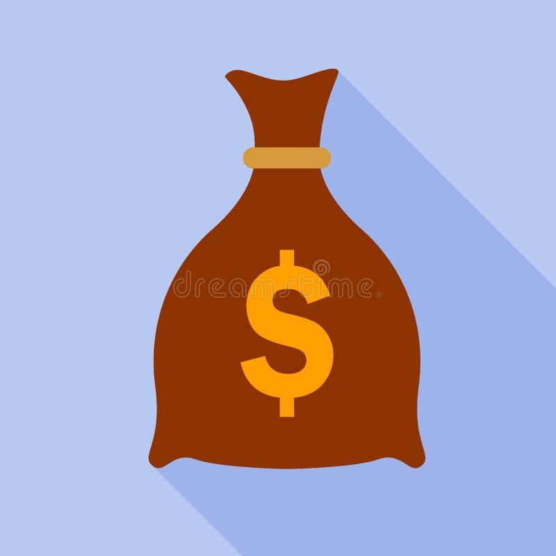 金钱袋子平的象 向量例证