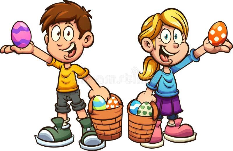 采摘复活节彩蛋的动画片男孩和女孩 皇族释放例证
