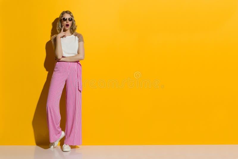 镶边宽腿长裤和太阳镜的惊奇的妇女看  免版税库存照片