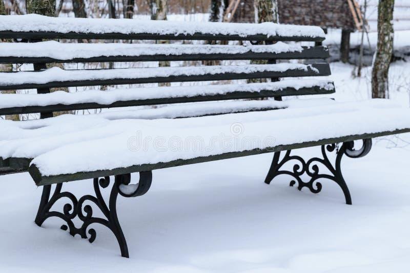 长凳报道了公园场面雪降雪的冬天 库存图片