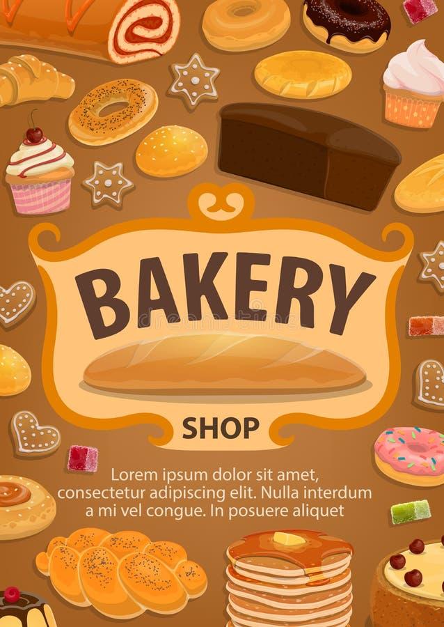 酥皮点心或面包,糖果店食物,面包店商店 库存例证