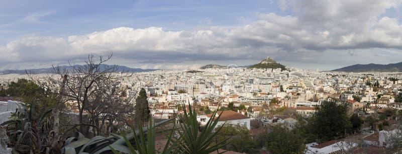 雅典和Lycabettes从上城,希腊全景  库存照片