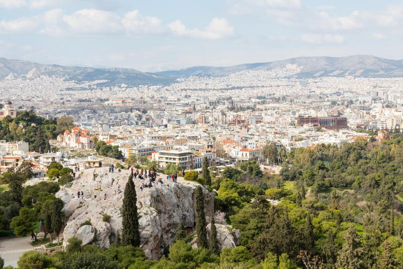 雅典看法从小山顶的 免版税图库摄影