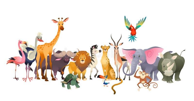 通配的动物 徒步旅行队野生生物非洲愉快的动物狮子斑马大象犀牛鹦鹉长颈鹿驼鸟火鸟逗人喜爱的密林 皇族释放例证