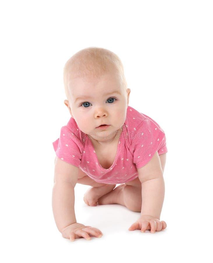 逗人喜爱一点婴孩爬行 库存照片