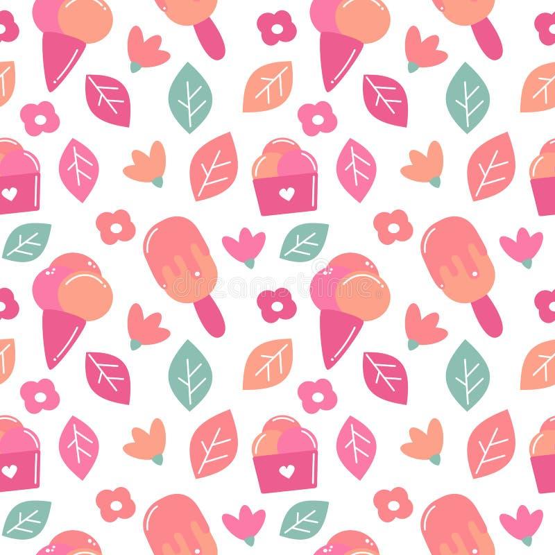 逗人喜爱的五颜六色的与冰淇淋、叶子和花的夏天无缝的传染媒介样式背景例证 向量例证