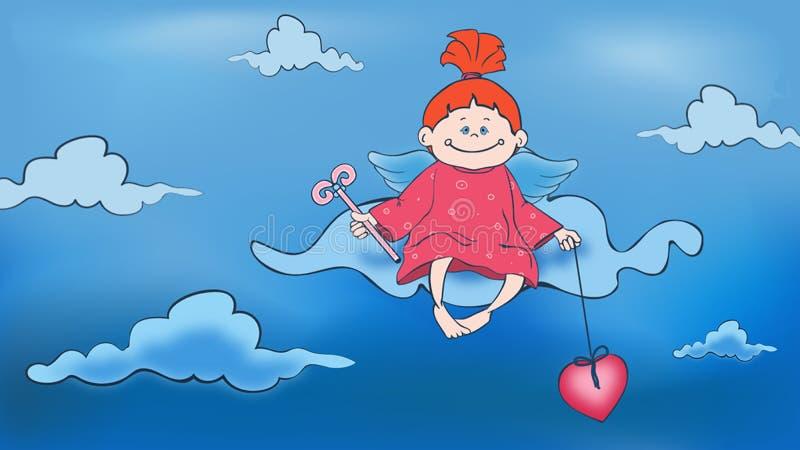 逗人喜爱的女孩天使的例证在礼服的有云彩背景 皇族释放例证