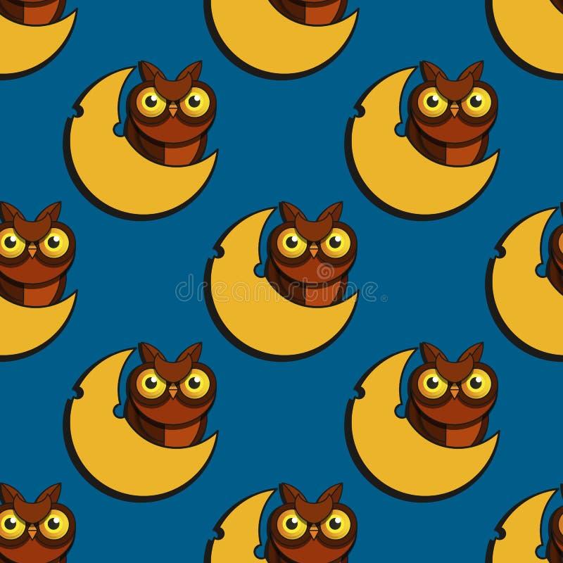 逗人喜爱的动画片样式猫头鹰导航无缝的样式 皇族释放例证
