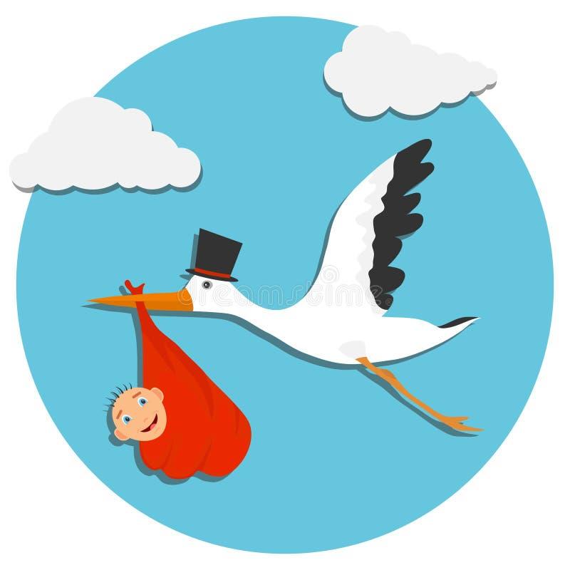 逗人喜爱的动画片鹳和婴孩 与鹳的天空蔚蓝的卡片和婴孩 一飞鸟运载的传染媒介例证 库存例证