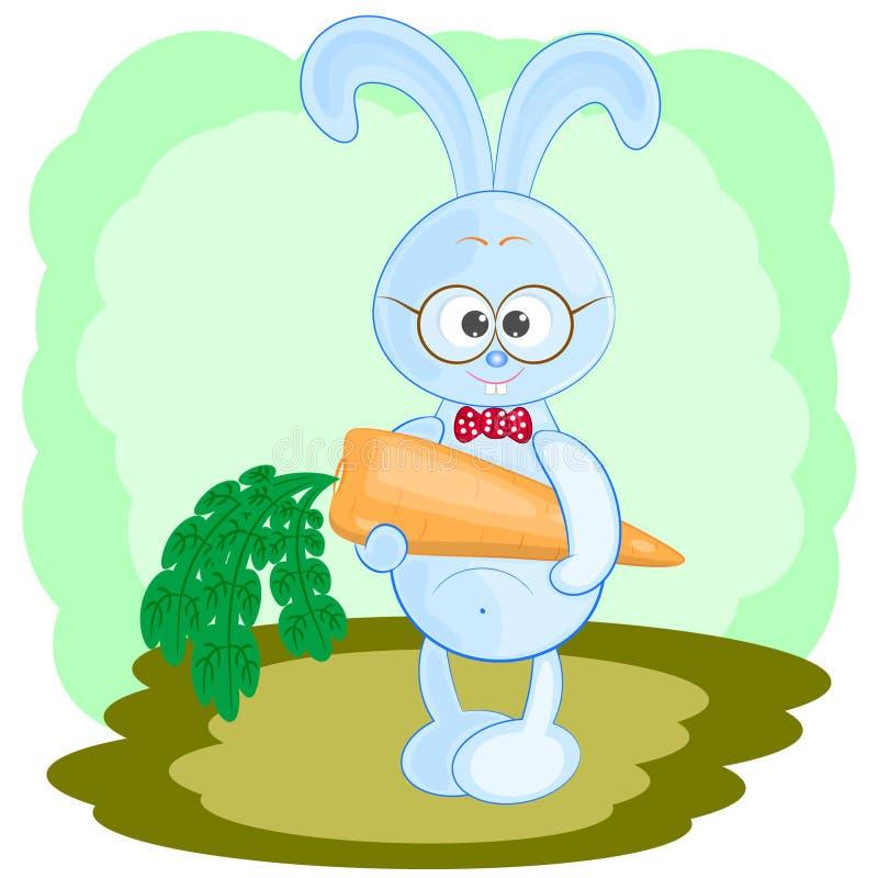 逗人喜爱的兔子用红萝卜 向量例证